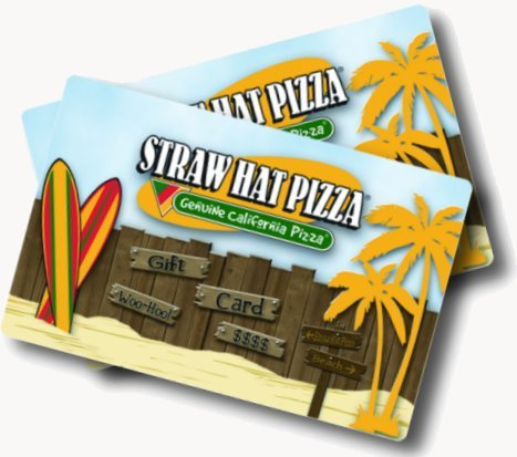 Two beach-themed Straw Hat Pizza gift cards